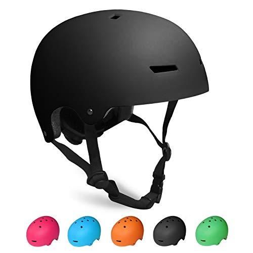 KORIMEFA Kinder Skateboard Helm Kind Fahrrad Schutzhelm 3-13 Jahre alt Jungen und Mädchen Kinder Verstellbarer Helm BMX Reiten Roller Inline Skating (Schwarz, M)