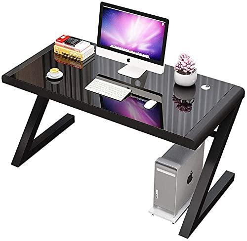 Mesa de cristal templado para el hogar, oficina, oficina, oficina, mesa de trabajo, estación de trabajo en forma de Z, estudio sencillo para casa, oficina, PC, escritorio de 78 x 60 x 75 cm