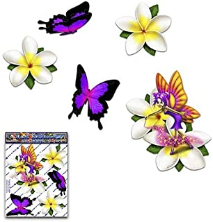 妖精ファンタジープルメリア白い花+蝶動物小さなデカールカーステッカーパック-ST00062WT_SML-JASステッカー