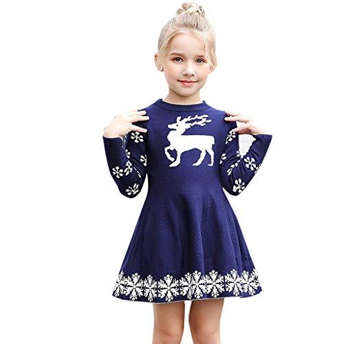 MRULIC MRULIC Baby Mädchen Schöne Minikleid Baumwolle Warme Pullover Blusenkleid Winter Stricken Sweater Jumper Kleider Outfits Babysachen Für 1-6 Jahre altes Mädchen(B-Blau,Höhe:105-110CM)