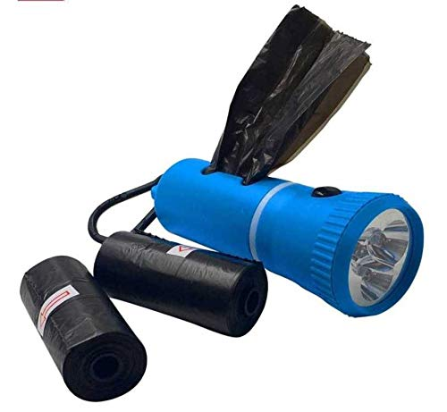 iPet Dispensador de Bolsas de Caca para Perro con Linterna LED | con Regalo de 60 Bolsas de excrementos para Perros y Pilas Incluidas. (Azul)