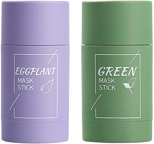 Green Tea Purifying Clay Stick Mask Oil Control Anti-Acne Eggplant,Oil-Control Cleansing Mask Green Acne Mask Purple,Green Tea moisturizing Hydrating Cleansing Solid Mask (2PCS)
