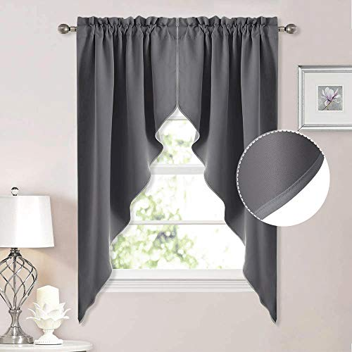 NICETOWN Blackout Window Treatment Pole Pocket Kitchen Tier Curtains- Tailored Scalloped Valance/Swags (One Pair, 36 Wide by 63-inches Long Each Panel, Grey)