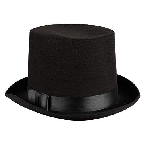 Wollfilz-Zylinder edler Herrenhut Damenhut viktorianisch 20er Jahre 30er Partyhut Spaßhut Kopfbedeckung Hochwertiges Kostüm-Zubehör Karneval Fasching Einheitsgröße Schwarz