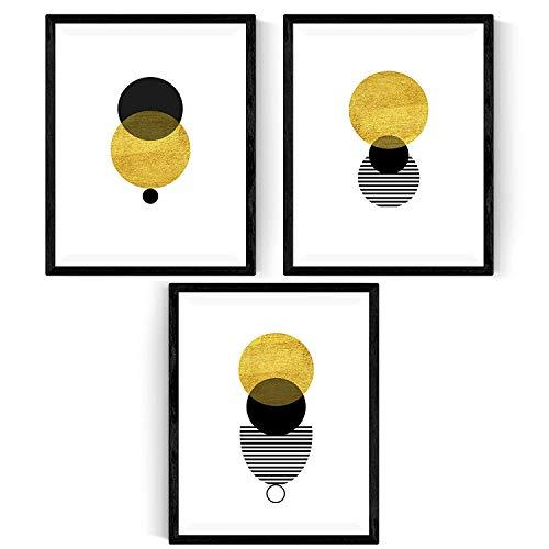 Nacnic Set de 3 láminas para enmarcar Eclipse Solar Posters Estilo nórdico para la decoración del hogar. Tamaño A4. con Marco