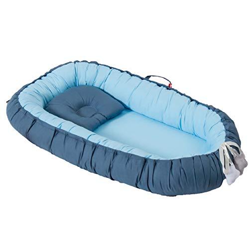 YWJPJ. Baby Nido para Dormir, Cuna para Bebé con Almohada de Viaje Cama Recién Nacido Desmontable para Cama de Bebé, Apta para 0-24 Meses,Azul