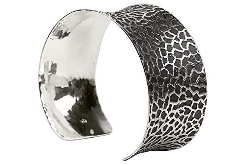SILBERMOOS Damen Armreif Armspange geschwärzt offen konkav massiv Rochenleder Muster 925 Sterling Silber
