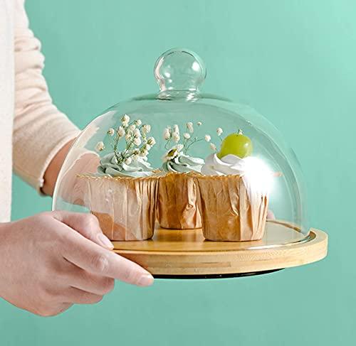 Soporte para tartas con cubierta de cúpula de vidrio Bandeja giratoria de madera para tartas para el hogar Cocina Hornear Boda Servir Ensalada Tazón de aperitivos Bandeja de picnic, Mediano, Cuadrado