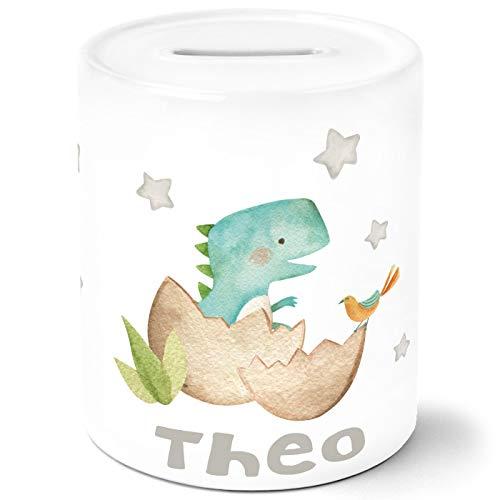SpecialMe® Kinder Spardose mit Namen Dino Baby Dinoaurier Tier Motiv Sparschwein Keramik T-Rex weiß Unisize