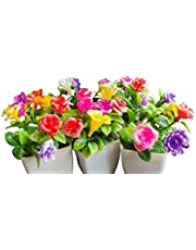 MOSU Artificial Bonsai Plant and Flower with Pot for Home Decoration and Gift |Height-10 cm||Set of 4 6|