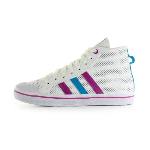 adidas Honey Stripes Mid - Zapatillas de Deporte de Cuero para Mujer Blanco Blanc, Rose et Bleu 36 2/3