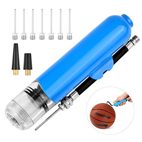 iToobe Ballpumpe Set mit 8 Nadelstiften und 2 Ersatzdüsen-Adaptern, Luftpumpen-Adapter-Set für Fußball, Rugbyball, Volleyball, Basketball, Handball, Ballon und andere Bälle, blau
