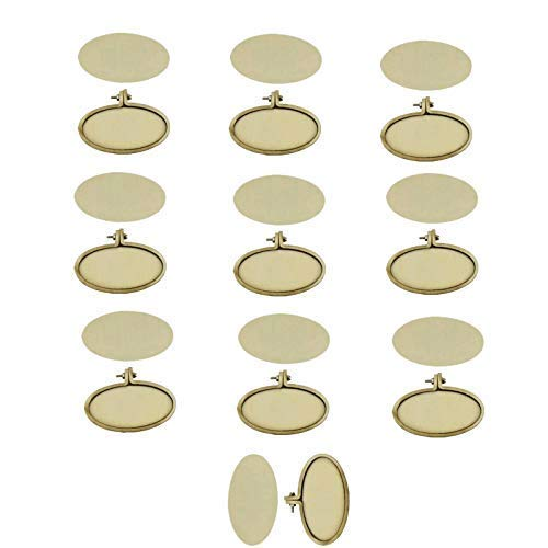 10 Pieces Small Rings Embroidery Hoops Mini Wooden Cross Stitch Hoop Mini Round Oval Wood Hoops for Frame Craft and Hanging (Horizontal Oval(6.7cm3.2cm))