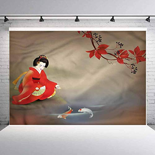 5x5FT Vinyl Photography Backdrop,Koi Fish,Geisha Woman Autumn Leaves Background for Graduation Prom Dance Decor Photo Booth Studio Prop Banner