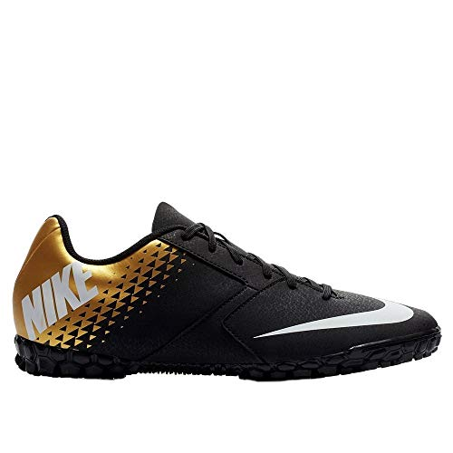 Nike Junior Bomba TF Turf Soccer Shoes (Black/White/Gold) (5.5)