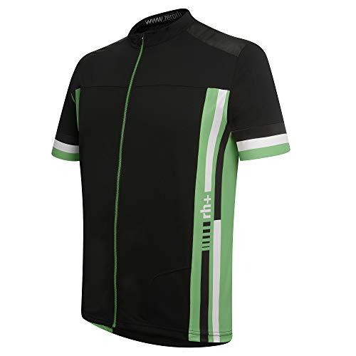 rh+ Lander, Adventure Bike Jersey para Hombre, Color Negro y Verde Brillante, Talla S