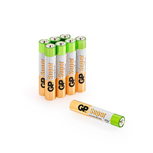 GP AAAA Batterien (Typ Mini / LR61) Super Alkaline, Pack mit 8 Stück Batterien AAAA, ideal für Stylus Pens, Stirnlampen etc.
