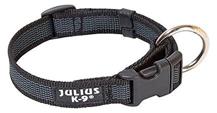 Julius-K9 Collar Color & Gray, 25 mm 39/65 cm, Negro/Gris