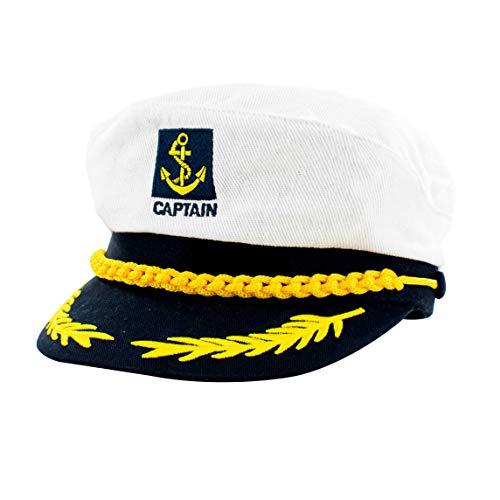 TRIXES Kapitänsmütze Weiß/Navy Blau Verstellbare Captain Sailor Marine für Karneval