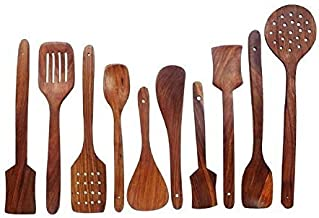 Aarsun Woods Spoon Set for Kitchen/Wooden Spatula (Brown 2, Set of 10)