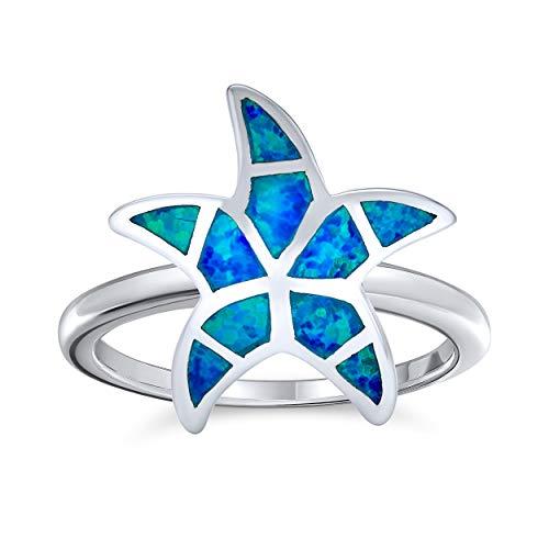 Náuticas Azul Playa Tropical Creado Opal Inlay Estrella Del Mar Anillo De Plata Esterlina 925 Mujer
