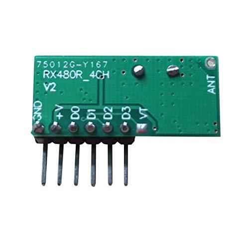 Demino 433MHz HF-ontvanger learning-code-module draadloze 4-kanaals uitgang afstandsbediening module encoding 28 x 12,3 x 1 mm