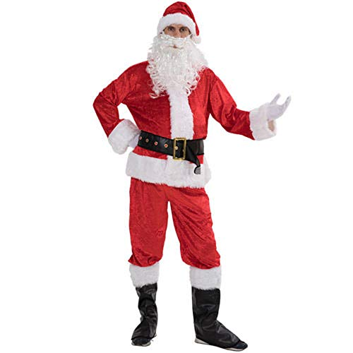 Costume da Babbo Natale da uomo, 7 pezzi, in peluche con cappello da barba, con cintura di stivali, costume da Babbo Natale per adulti Rosso L