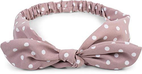 styleBREAKER Dames haarband met stippenpatroon, strik en elastiek, hoofdband, pinup, rockabilly, haarversieringen 04026036
