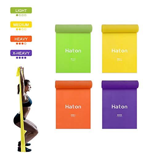 HATON Bande Elastiche Fitness 4 Pezzi, 1.8 m Fasce Elastiche Fitness con 4 Livelli di Resistenza, Fascia Elastica Esercizi Ideale per Yoga, Pilates, Allenamento di Forza e Flessibilità, Stretching
