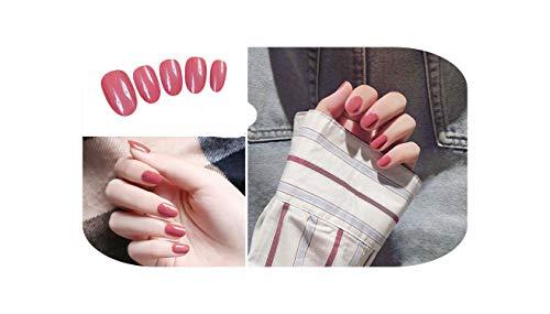 24 Pcs/ensemble Bean Sand Pure Color Design Fini Faux s Taille Courte Lady Filles Pleine Presse sur s Conseils Patch Art Outil Mariée-F37-