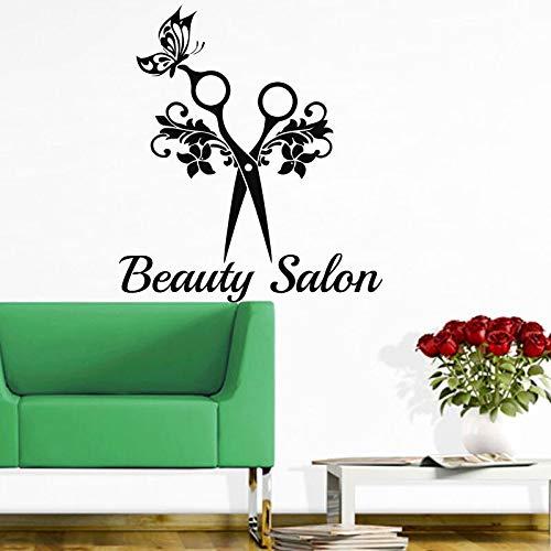 YIYEBAOFU Große Emoji Wandaufkleber Viewhair Salon Wandtattoo Haarschnitt Schere Blume Schmetterling Friseursalon Wanddekoration Vinyl Applique St84x94cm