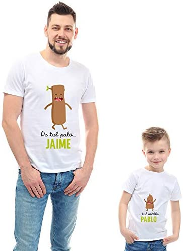 Regalo Personalizable para Padres e Hijos: Pack de Dos Camisetas 'De Tal Palo