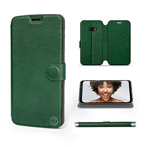 Mobiwear | Echt Lederhülle | Kompatibel mit Samsung Galaxy Xcover 4, Made in EU handyhülle, Slim Leather Hülle, Premium Flip Schutzhülle, Transparent TPU Silicon, Book Style, Tasche - Grünes Leder
