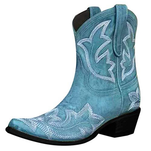 Stivali Invernali Donna Scarpe da Neve Stringati Pelliccia Caldo Snow Boots Caviglia Stivaletti Piatto Outdoor Stivali Scarpe con Tacco Basso Cowboy Knight (35,Blu)
