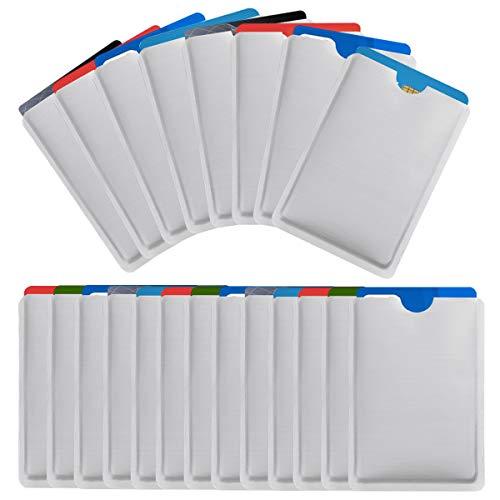 NATUCE 25 Pezzi RFID Blocking Sleeve, Custodie Anti-RFID, Protezione Carte di Credito Contactless (Argento)