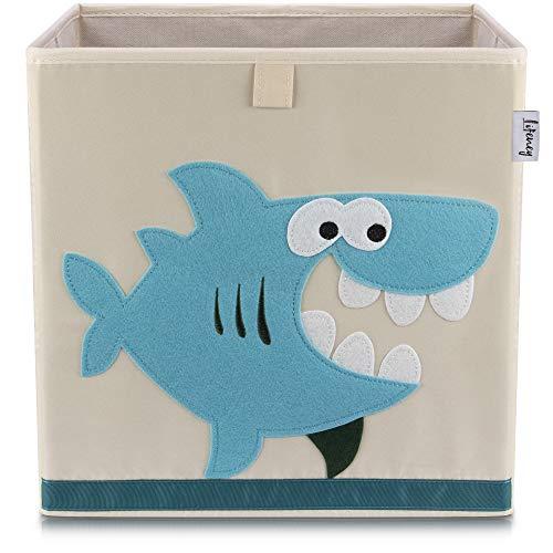 Lifeney Kinder Aufbewahrungsbox I praktische Aufbewahrungsbox für jedes Kinderzimmer I Kinder Spielkiste I Niedliche Spielzeugbox I Korb zur Aufbewahrung von Kinder Spielsachen (Hai hell)