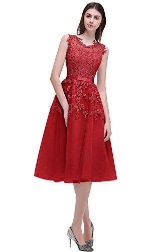 MisShow Dame Vintage Kleid Swing Rockabilly Kleid Skaterkleid Pet Hohe Bund Tanzkleid Champagner GR. 34
