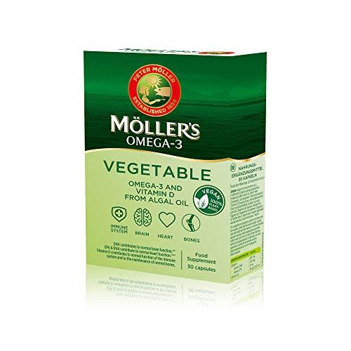 Möller's ® | Cápsulas de Omega 3 Vegano | 100% de origen vegetal | Suplemento dietético nórdico con omega-3, EPA, DHA y vitamina D3 | Marca con 166 años de historia | 30 cápsulas