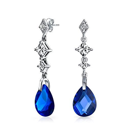 Azul Briolette Facetado En Forma De Pera Lágrimas Zirconia Cúbico CZ Candelabro Pendiente De Plata Esterlina Para Mujer