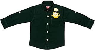 Hopscotch Baby Boys Cotton Blend Roll Sleeves Regular Fit Panda Solid Shirt in Green Colour