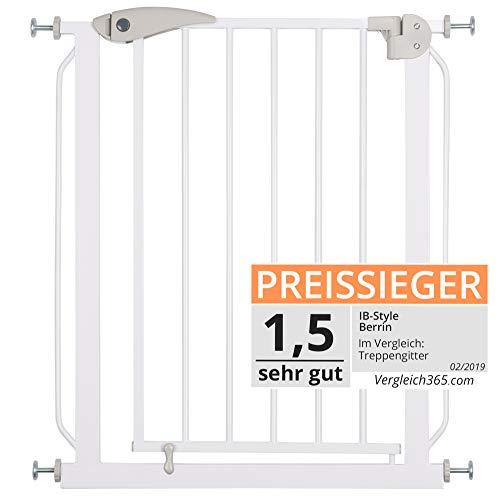 ib style® Berrin XS Treppengitter 58-156cm |Türschutzgitter | Haustiergitter | Ohne Bohren | Auto-Close| 90° Stop | 68-76 cm