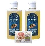 Olio di Argan puro biologico certificato ECOCERT BIOCERTITALIA spremuto a freddo (2 x 250ml) + sapone 100gr.