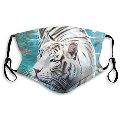 HOTBABYS White Tiger Art Reusable Activated Carbon Filter Face Covering with Replaceable Filter for Men Women M