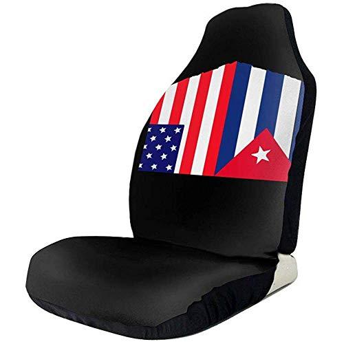Sobre-mesa Bandera Cubana y Bandera Americana Cubierta de Asiento de automóvil 1 Piezas se Ajustan a la mayoría de los automóviles Suvs Camión Van Sedan Etc.