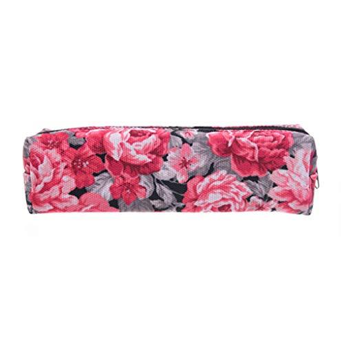 SEVENHOPE Fleur Rouge 3D Imprimer Cosmétique Sac Femmes Maquillage Sac Enfants École Crayon Sac Papeterie Pochette