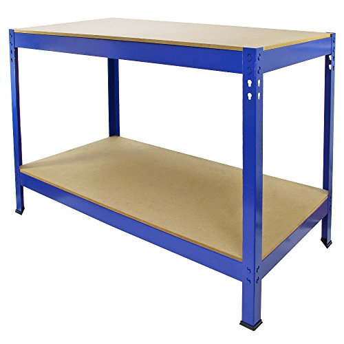 Work Bench Garage Table/Metal Storage Shelving DIY Tools Heavy Duty Workbenches Workshop Shed / 2 Shelves 90cm x 120cm x 60cm (Blue)