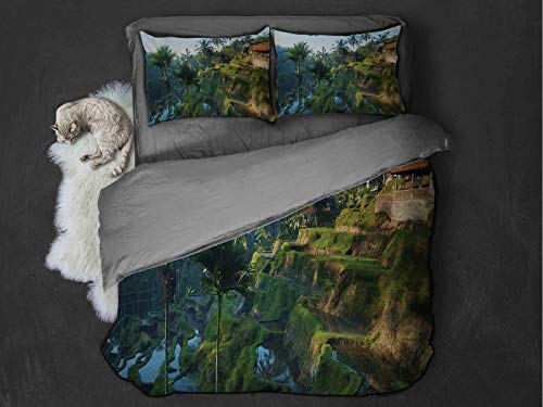 Toopeek Balinese 3-pack (1 duvet cover and 2 pillowcases) Terrace Rice Fields Palm Trees Traditional Farmhouse Morning Sunrise Bali Indonesia Polyester (Full) Green