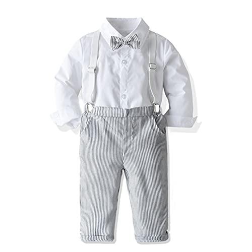FEESHOW Bébé Fille Printemps Eté Costume Baptême Blanc Chemise à Manche Longue Formel T-Shirt Crop Top Haut de Cérémonie Anniversaire Bretelle Longue Pantalon Elastique Blanc 18-24 Mois