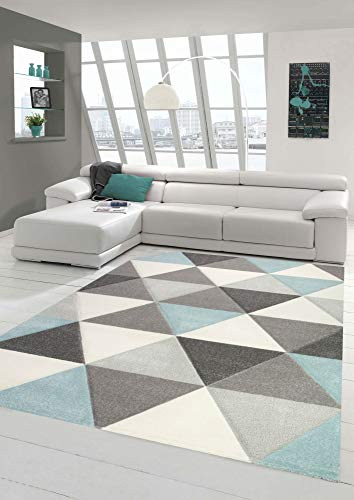Tapis Design et Moderne avec Motif Triangle en Gris crème Bleu Größe 160x230 cm