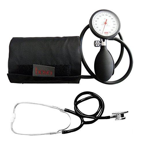 Blutdruckmessgerät Oberarm Boso K 1 shock protected + Doppelkopf Stethoskop Schwarz Stetoskop Doppelkopfsttehoskop Tiga-Med